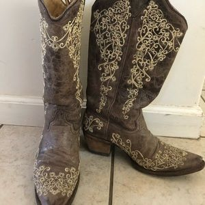 Corral grey embroidered western cowgirl boot 8
